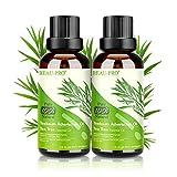 Teebaumöl 100% - 2 PACK Teebaum öl Tea Tree Oil für Shampoo Körper Gesicht Anti Pickel Akne Öl, Acne Serum Anti-Akne-Behandlung gegen Unreine Haut Schuppen Mitesser, Diffuser Ätherische Öle