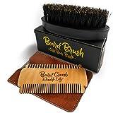 Bartbürste und Bartkamm im Set von Gold Lions I Wildschweinborsten oder Vegan